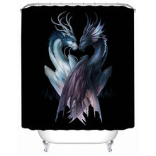 Yin and Yang Dragons by JoJoesArt - Black - Shower Curtain