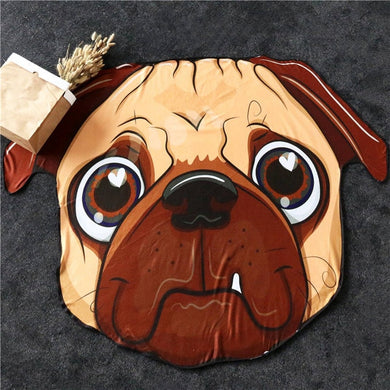 Pug Large Beach Towel