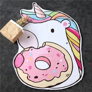 Donut Unicorn Large Beach Towel