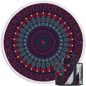 Dark Purple Boho Mandala Round Beach Towel 150cm