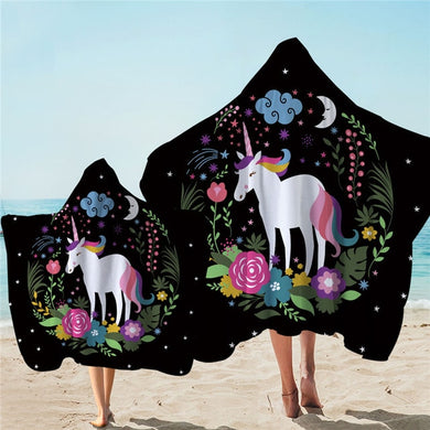 Floral Wreath Unicorn Hooded Towel - 2 sizes