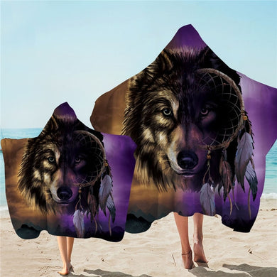 Shades Of Wolf Dreamcatcher Hooded Towel - 2 sizes