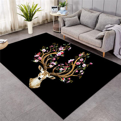 Floral Elk - Black - Large Mat - 3 sizes