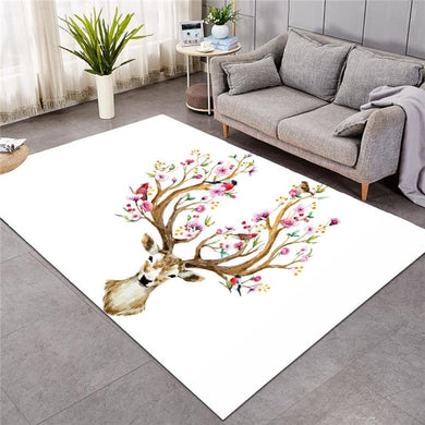 Floral Elk - White - Large Mat - 3 sizes