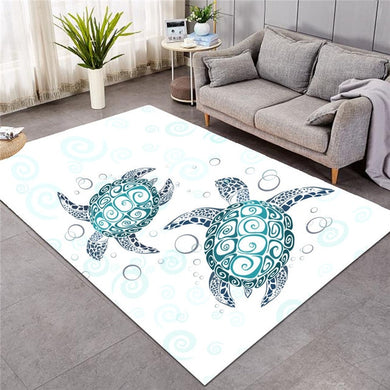 Blue Turtles With Bubbles - Large Mat - 3 sizes