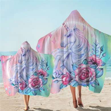 Unicorn & Roses Hooded Towel - 2 sizes