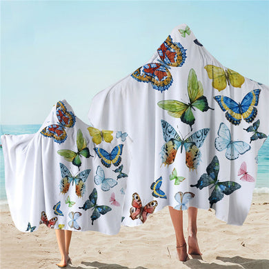 Flying Butterflies Hooded Towel - 2 sizes