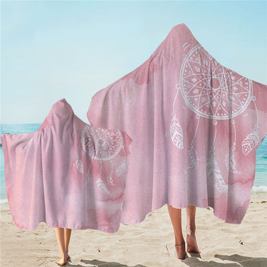 Pink Watercolour Dreamcatcher Hooded Towel - 2 sizes