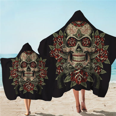 Vintage Red & Green Skull Hooded Towel - 2 sizes