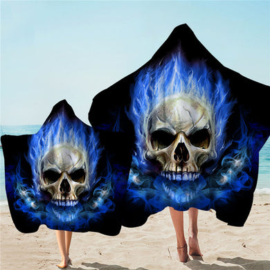 Blue Flame Skull Hooded Towel - 2 sizes