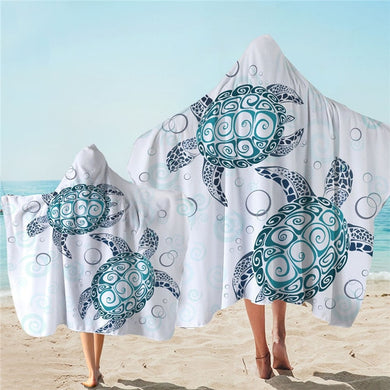 Blue Turtles With Bubbles Hooded Towel - 2 sizes
