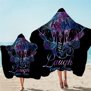 Lotus Elephant - With Words - Hooded Towel - 2 sizes