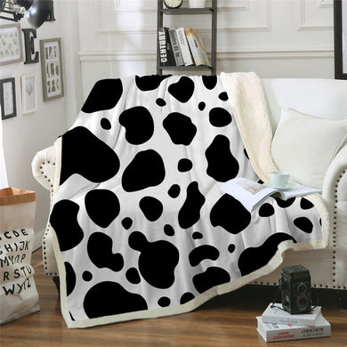 Cow Print Sherpa Throw Blanket - 4 sizes