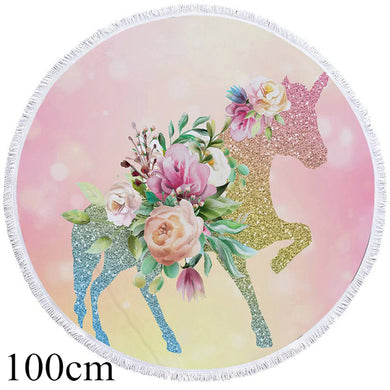 Shining Unicorn Round Beach Towel - 2 sizes