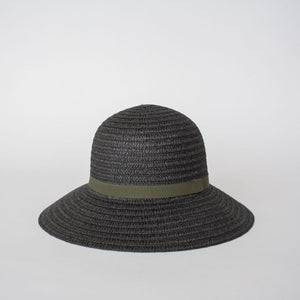 S O P H I E  //  So Shady Ribbon Hat BLACK w/ OLIVE