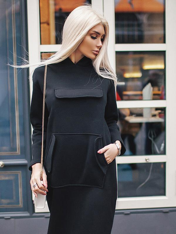 Solid Color Logn Sleeve Hooded Dress