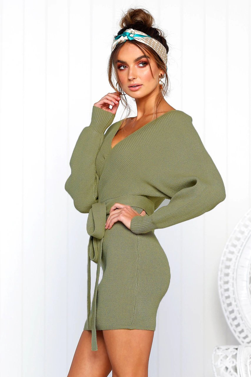 V-neck Backless Solid Tie Up Dress