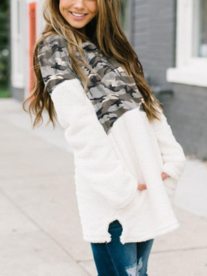 Camouflage Stitching Plush Zipper Sweater