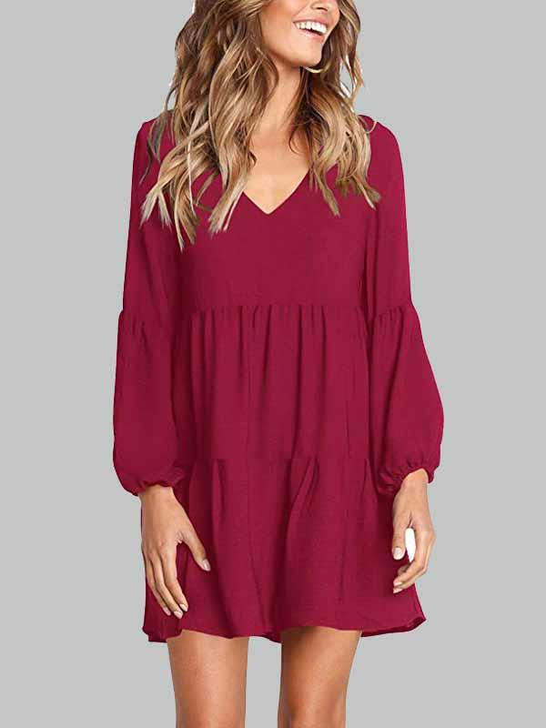 Solid Color V-neck Mini Dress