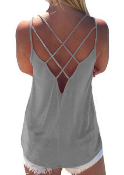 Solid Hollow Out Backless Letter Camisole
