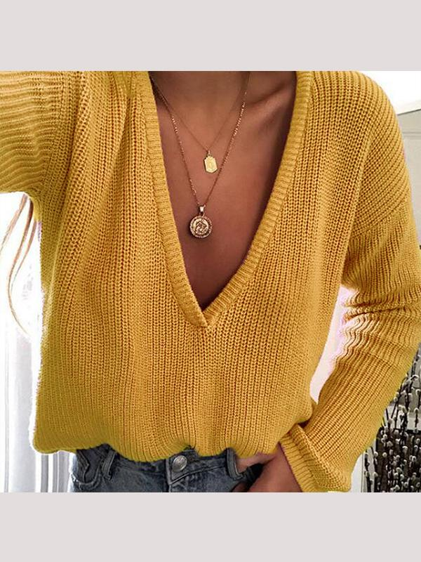 Deep V Solid Color Long Sleeve Sweater