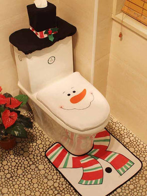 3-Piece Santa Toilet Seat Cover Christmas Decorations
