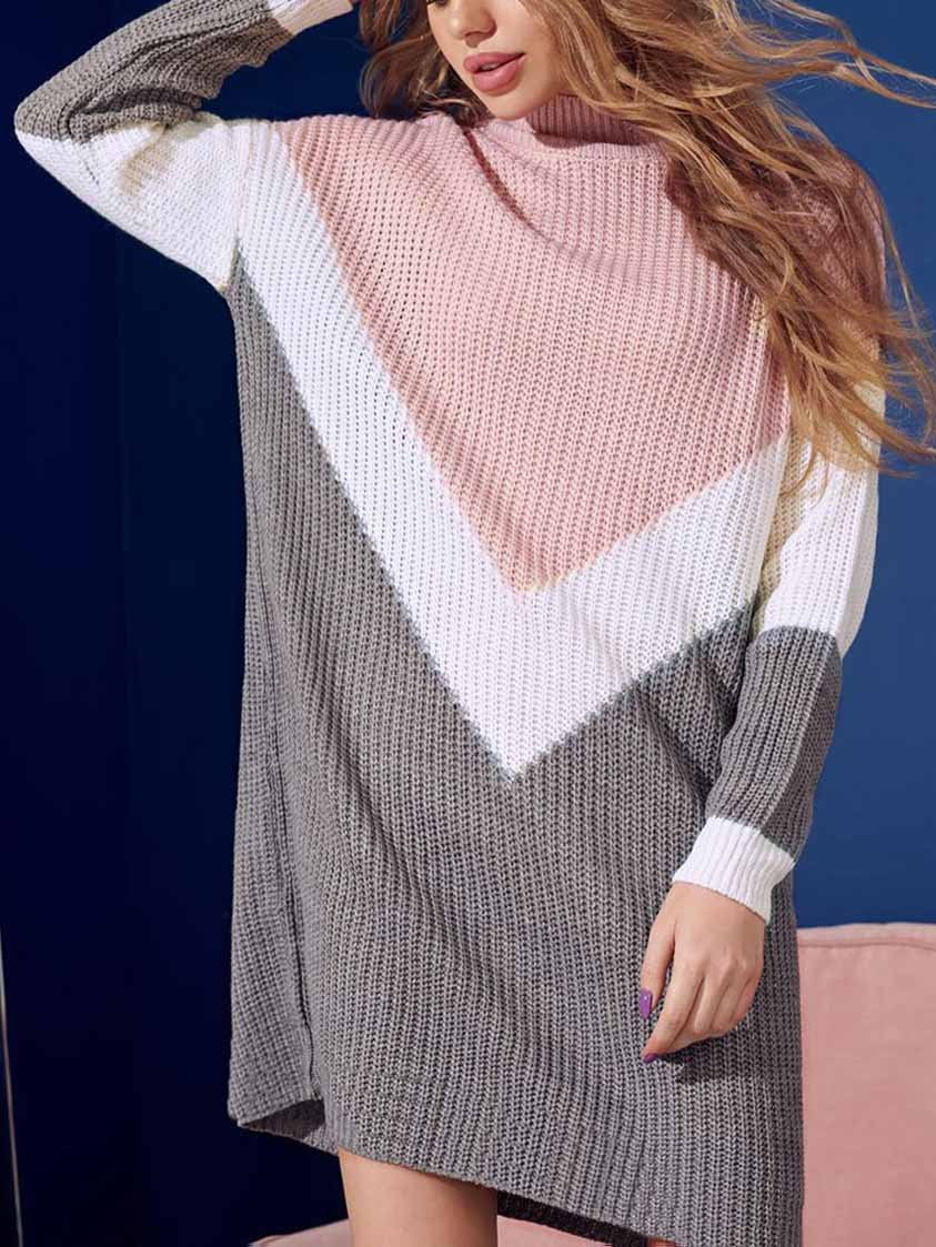 Splice Long Sleeve Sweater Dress