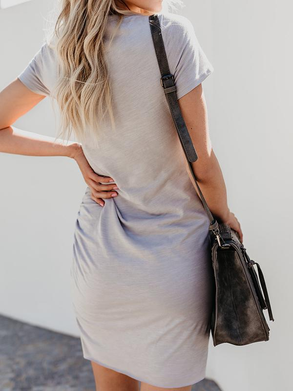 Solid Color Irregular T-shirt Dress