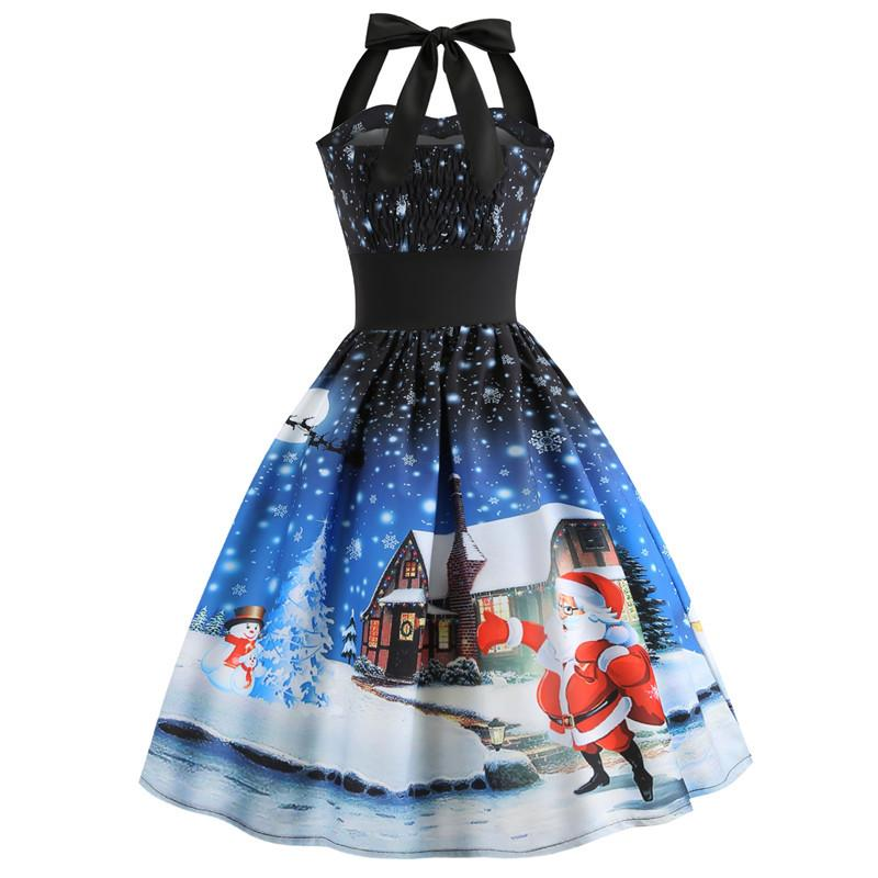 Sleeveless Hanging Neck Christmas Cocktail Dress