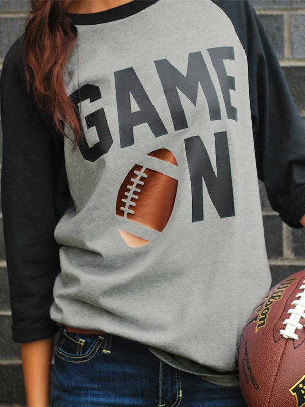 Game On Football Printed Baseball T-Shirt