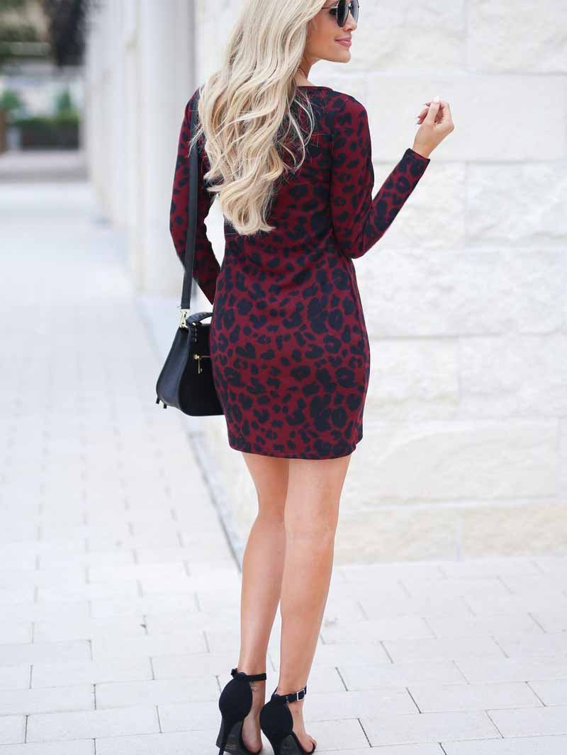 Leopard Print Long Sleeve Hip Dress
