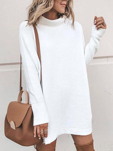Solid Color Pullover Sweater Dress