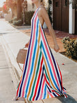 Striped Halter Backless Rainbow Long Dress-Maxi Dress-Fechicin.com
