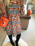 Pumpkin Wave Halloween Swing Dress
