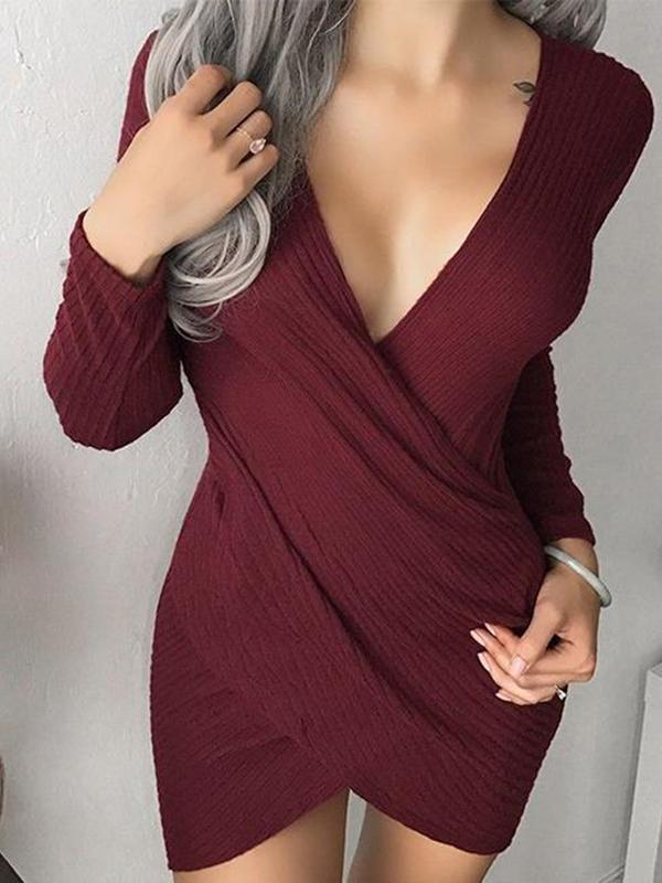 Sexy Solid Color Bodycon Dress