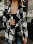 Lapel Plaid Printed Irregular Cardigan