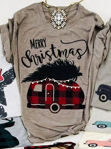 Merry Christmas Plaid Car T-Shirt