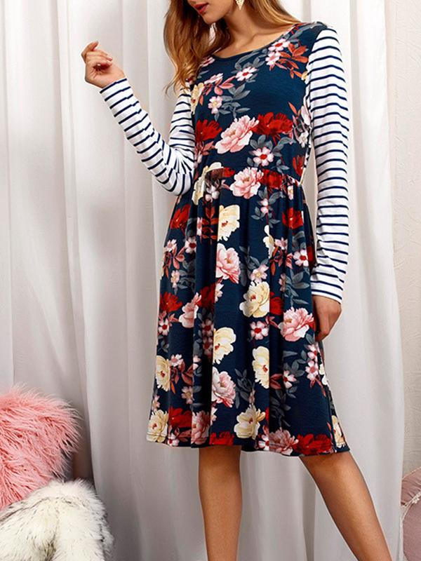 Floral Striped Pocket Casual Dress-Mini Dress-Fechicin.com