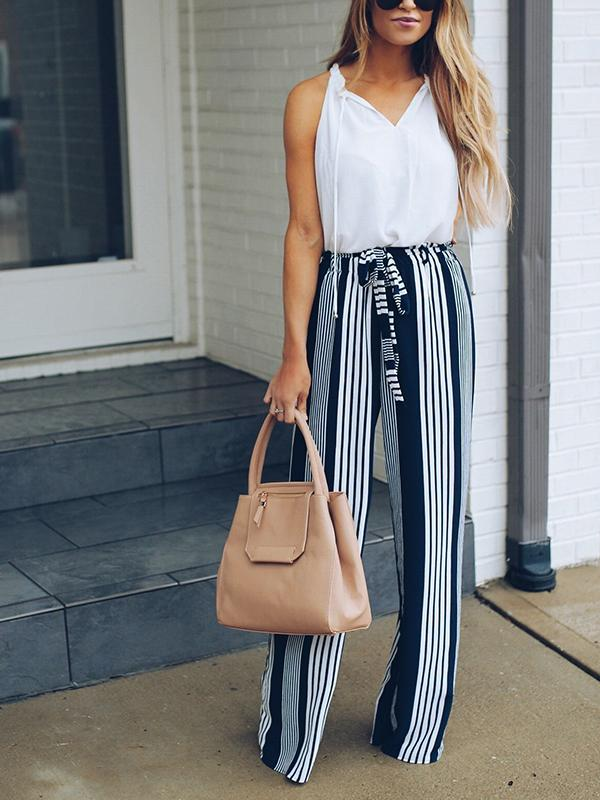 High Waisted Stripe Wide Leg Pants