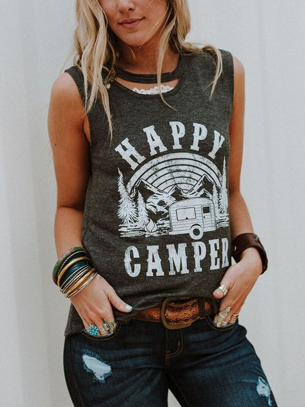 Happy Camper Tree Cut Out Tank