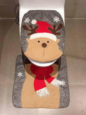 2-Piece Santa Toilet Seat Cover Christmas Decorations