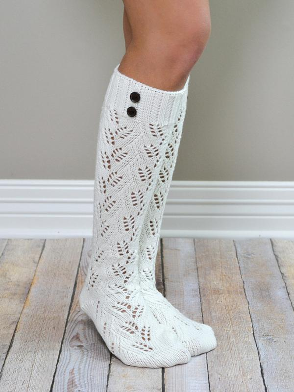 Leaf Button Thigh-High Long Socks