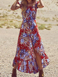 Floral Printed Off Shoulder Chiffon Long Dress
