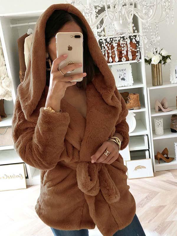 Solid Color Hooded Plush Waist Coat