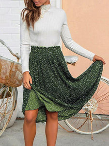 Pleated Wave Maxi Skirt