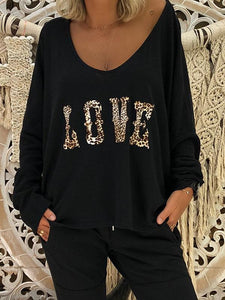 Love Leopard Printed Long Sleeve Blouse