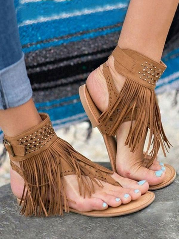 Tassel Imitated Crystal Flat Sandals-Shoes-Fechicin.com