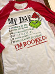 Christmas Grinch I'm Booked Baseball T-Shirt