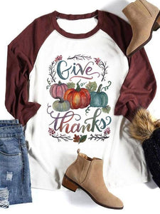 Give Thanks Pumpkin Baseball T-Shirt