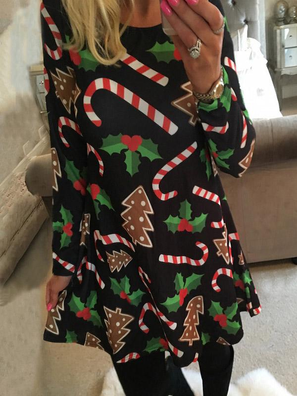 Christmas Tree Printed Dress